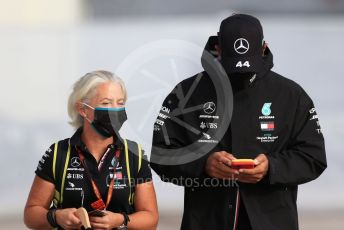 World © Octane Photographic Ltd. Formula 1 – F1 Portuguese GP, Paddock. Mercedes AMG Petronas F1 W11 EQ Performance - Lewis Hamilton and personal trainer Angela Cullen. Autodromo do Algarve, Portimao, Portugal. Friday 23rd October 2020.