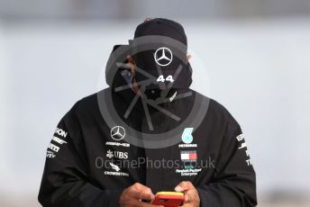 World © Octane Photographic Ltd. Formula 1 – F1 Portuguese GP, Paddock. Mercedes AMG Petronas F1 W11 EQ Performance - Lewis Hamilton. Autodromo do Algarve, Portimao, Portugal. Friday 23rd October 2020.