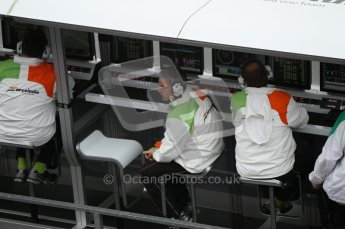 © Octane Photographic 2010. 2010 F1 Belgian Grand Prix, Friday August 27th 2010. Force India pitwall. Digital Ref : 0030CB1D0331