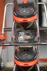© Octane Photographic 2010. 2010 F1 Belgian Grand Prix, Friday August 27th 2010. McLaren MP4/25 nosecones. Digital Ref : 0030CB1D1079