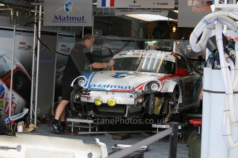 2010 Le Mans 24 Hour (24 Heures du Mans), 11th June 2010. IMSA Performance - Porsche 997 GT3 RSR garage. Digital ref : CB1D2007