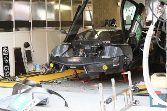 2010 Le Mans 24 Hour (24 Heures du Mans), 11th June 2010. JLOC - Lamborghini Murcielago R-SV garage. Digital ref : CB1D2063