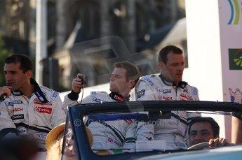 2010 Le Mans 24 Hour (24 Heures du Mans), 11th June 2010. Drivers' parade. Team Peugeot Total - Marc Gene, Anthony Davidson, Alexander Wurz. Digital ref : CB1D2602