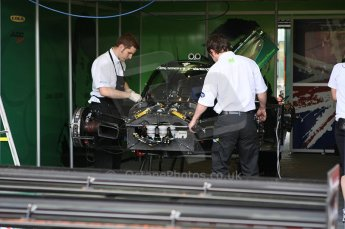 2010 Le Mans 24 Hour (24 Heures du Mans), 11th June 2010. Lola B09/60 Judd - Drayson Racing garage. Digital ref : LW40D2177