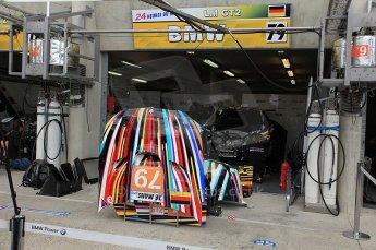 2010 Le Mans 24 Hour (24 Heures du Mans), 11th June 2010. BMW Motorsport - BMW M3 E92 garage. Digital ref : CB5D3073