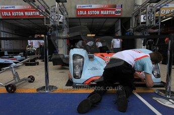 2010 Le Mans 24 Hour (24 Heures du Mans), 11th June 2010. Aston Martin Racing - Lola B09/60-Aston Martin garage. Digital ref : CB5D3099