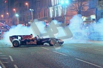 World © Octane Photographic 2010. 2010 Red Bull City Limits street demo Belfast, David Coulthard. Digital ref : 0027CB1D4073