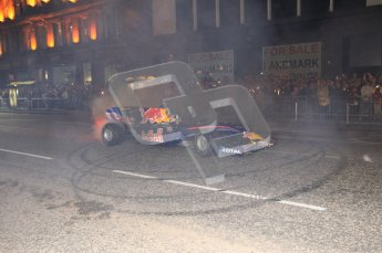 World © Octane Photographic 2010. 2010 Red Bull City Limits street demo Belfast, David Coulthard. Digital ref : 0027CB1D4106