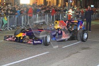 World © Octane Photographic 2010. 2010 Red Bull City Limits street demo Belfast, David Coulthard. Digital ref : 0027CB7D0028