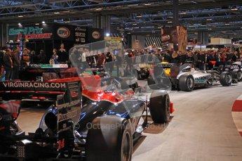 © Octane Photographic Ltd. Autosport International 2011, January 15th 2011. F1 Racing display, Virgin Racing showcar. Digital ref : 0045CB7D2840