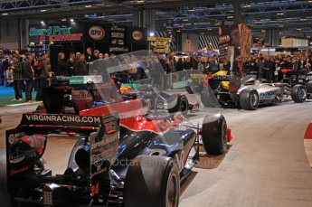 © Octane Photographic Ltd. Autosport International 2011, January 15th 2011. F1 Racing display, Virgin Racing showcar. Digital ref : 0045CB7D2845