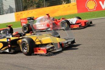 © Octane Photographic Ltd. 2011. Belgian Formula 1 GP, GP2 Race 2 - Sunday 28th August 2011. Romain Grosjean of DAMS taking a tighter racing line than Josef Krai of Arden International into La Source. Digital Ref : 0205cb7d0379