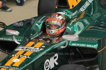 World © Octane Photographic Ltd. 2011. British GP, Silverstone, Friday 8th July 2011. GP2 Practice Session Pit Lane.  Jules Bianchi - Lotus ART Digital Ref: 0107LW7D4741
