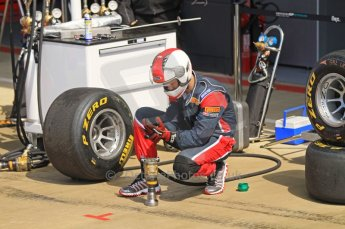 World © Octane Photographic Ltd. 2011. British GP, Silverstone, Saturday 9th July 2011. GP2 Race 1. iSport International Pit Crew waiting for Pit Stop Action. Digital Ref: 0109LW7D6252