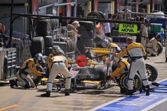 World © Octane Photographic Ltd. 2011. British GP, Silverstone, Saturday 9th July 2011. GP2 Race 1. Fairuz Fauzy - Super Nova Pit Stop in Action. Digital Ref: 0109LW7D6437