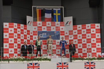 World © Octane Photographic Ltd. 2011. British GP, Silverstone, Saturday 9th July 2011. GP2 Race 1. Race 1 Podium, J. Bianchi - Lotus ART, C. Vietoris - Racing Engineering, M. Ericsson - iSport International Digital Ref: 0109LW7D6562