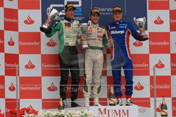 World © Octane Photographic Ltd. 2011. British GP, Silverstone, Saturday 9th July 2011. GP2 Race 1. Race 1 Podium, J. Bianchi - Lotus ART, C. Vietoris - Racing Engineering, M. Ericsson - iSport International Digital Ref: 0109LW7D6575
