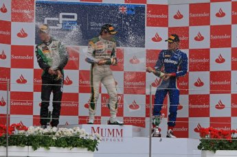 World © Octane Photographic Ltd. 2011. British GP, Silverstone, Saturday 9th July 2011. GP2 Race 1. Race 1 Podium, J. Bianchi - Lotus ART, C. Vietoris - Racing Engineering, M. Ericsson - iSport International. Digital Ref: 0109LW7D6606