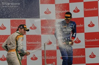 World © Octane Photographic Ltd. 2011. British GP, Silverstone, Saturday 9th July 2011. GP2 Race 1. Race 1 Podium, J. Bianchi - Lotus ART, C. Vietoris - Racing Engineering, M. Ericsson - iSport International. Digital Ref: 0109LW7D6620