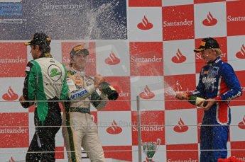 World © Octane Photographic Ltd. 2011. British GP, Silverstone, Saturday 9th July 2011. GP2 Race 1. Race 1 Podium, J. Bianchi - Lotus ART, C. Vietoris - Racing Engineering, M. Ericsson - iSport International. Digital Ref: 0109LW7D6625