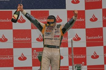 World © Octane Photographic Ltd. 2011. British GP, Silverstone, Saturday 9th July 2011. GP2 Race 1. Race 1 Podium, J. Bianchi - Lotus ART, C. Vietoris - Racing Engineering, M. Ericsson - iSport International. Digital Ref: 0109LW7D6641