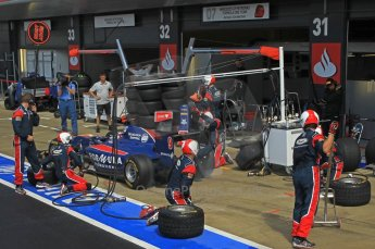 World © Octane Photographic Ltd. 2011. British GP, Silverstone, Saturday 9th July 2011. GP2 Race 1. Sam Bird - iSport International Pit Stop Action. Digital Ref: 0109LW1D2500