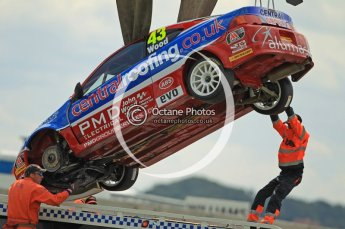 © Octane Photographic Ltd. 2011. British Touring Car Championship – Snetterton 300, Lea Wood - Honda Integra - Central Group racing, being recovered after loosing his front left wheel on race 1's green flag lap. Sunday 7th August 2011. Digital Ref : 0124CB1D4088