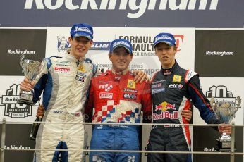 World © Octane Photographic Ltd/ Carl Jones. Daniil Kvyat and Dan Wells Formula Renault 2.0 - Rockingham 12th November 2011. Race 1 Podium. Digital ref : 0876cjsony05715.jpg