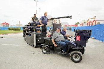 © Octane Photographic Ltd. 2011. European Formula1 GP, Friday 24th June 2011. GP2 Practice. Fairuz Fauzy hitches a lift on the Super Nova Racing mobile garage. Digital Ref: 0082CB1D6175