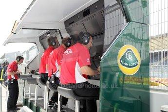 © Octane Photographic Ltd. 2011. European Formula1 GP, Friday 24th June 2011. GP2 Practice. Caterham Team AirAsia on the Team Lotus pitwall. Digital Ref: 0082CB1D6285