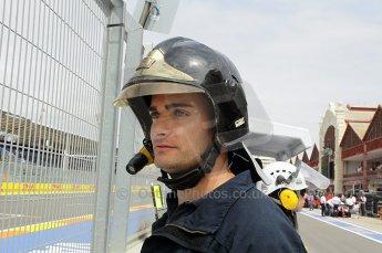 © Octane Photographic Ltd. 2011. European Formula1 GP, Friday 24th June 2011. GP2 Practice. Valencia fire marshal. Digital Ref: 0082CB1D6415
