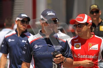 © Octane Photographic Ltd. 2011. European Formula1 GP, Sunday 26th June 2011. F1 Paddock Sunday. Rubens Barrichello - AT&T Williams chatting with Felipe Massa - Scuderia Ferrari Marlboro Digital Ref:  0089LW7D6427