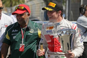 © Octane Photographic Ltd. 2011. European Formula1 GP, Sunday 26th June 2011. GP2 Sunday race. Luiz Razia and Tony Fernandes - Caterham Team AirAsiaDigital Ref: 0090CB1D9663