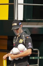 © Octane Photographic Ltd. 2011. Formula 1 World Championship – Italy – Monza – 11th September 2011. Bruno Senna with teddies a fan gave him. Digital Ref : 0193LW7D7201