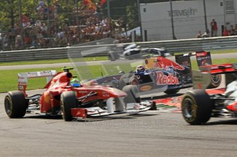 © Octane Photographic Ltd. 2011. Formula 1 World Championship – Italy – Monza – 11th September 2011 Mark Webber impact the rear left wheel of Felipe Massa's Ferrari in teh 1st chicane after the race resumes after the 1st accident – Race – Digital Ref :  0177CB7D7980