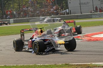 © Octane Photographic Ltd. 2011. Formula 1 World Championship – Italy – Monza – 11th September 2011 Mark Webber's wing is lodged in his Red Bull RB7's front suspension after hitting the Ferrari of Felipe Massa – Race – Digital Ref :  0177CB7D7987