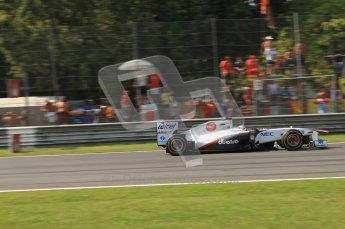 © Octane Photographic Ltd. 2011. Formula 1 World Championship – Italy – Monza – 11th September 2011 Kamui Kobayashi heats up his Sauber's brakes into the 1st chicane – Race – Digital Ref : 0177CB7D8115