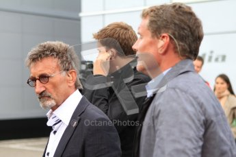 © Octane Photographic Ltd. 2011. Formula One Belgian GP – Spa – Sunday 28th August 2011 – Drivers' parade and starting grid. The BBC commentary team, Eddie Jordan, Jake Humphries and David Coulthard. Digital Reference : 0167cb7d1033