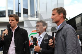 © Octane Photographic Ltd. 2011. Formula One Belgian GP – Spa – Sunday 28th August 2011 – Drivers' parade and starting grid.The BBC commentary team, Eddie Jordan, Jake Humphries and David Coulthard.  Digital Reference : 0167cb7d1036