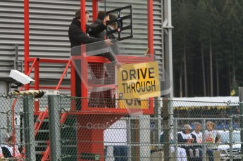 © Octane Photographic Ltd. 2011. Formula One Belgian GP – Spa – Sunday 28th August 2011 – The Drive through board is shown to Bruno Senna. Digital Reference : 0167lw7d7871