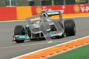 © Octane Photographic Ltd. 2011. Formula One Belgian GP – Spa – Friday 26th August 2011 – Free Practice 1, Michael Schumacher - Mercedes MGP W02. Digital Reference : 0163CB1D7249