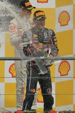 © Octane Photographic Ltd. 2011. Formula One Belgian GP – Spa – Sunday 28th August 2011 – Jenson Button and Mark Webber on the podium. Digital Reference : 0169cb1d1118