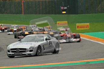 © Octane Photographic Ltd. 2011. Formula One Belgian GP – Spa – Sunday 28th August 2011 – Race. The Safety Car backs the pack up as Hamilton's McLaren is cleared from the track. Digital Reference : 0168cb1d0730