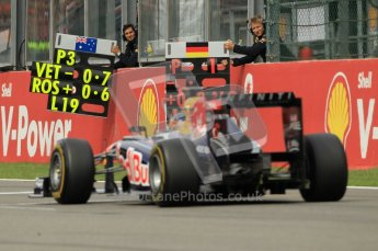 © Octane Photographic Ltd. 2011. Formula One Belgian GP – Spa – Sunday 28th August 2011 – Race. Vettel gets confirmation of his lead from his pit board. Digital Reference : 0168cb1d0831