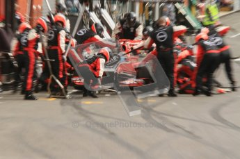 © Octane Photographic Ltd. 2011. Formula One Belgian GP – Spa – Sunday 28th August 2011 – Race. Final pit stop for Timo Glock. Digital Reference : 0168lw7d0373