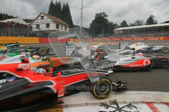 © Octane Photographic Ltd. 2011. Formula One Belgian GP – Spa – Sunday 28th August 2011 – Race. Paul di Resta in his Force India tags the back of Jenson Button's McLaren at the 1st corner on the opening lap. Digital Reference : 0168lw7d8530
