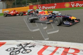 © Octane Photographic Ltd. 2011. Formula One Belgian GP – Spa – Sunday 28th August 2011 – Race. Mark Webber turns into La Source hairpin in his Red Bull racing RB7 Digital Reference : 0168lw7d9217