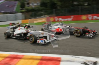 © Octane Photographic Ltd. 2011. Formula One Belgian GP – Spa – Sunday 28th August 2011 – Race. Button joins in the Perez/Petrov scrap. Digital Reference : 0168lw7d9536