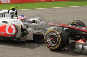 © Octane Photographic Ltd. 2011. Formula One Belgian GP – Spa – Sunday 28th August 2011 – Race. Jeson Button takes La Source in his Vodafone McLaren Mercedes MP4/26. Digital Reference : 0168lw7d9612