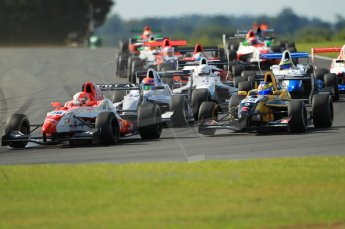 © Octane Photographic Ltd. 2011. Formula Renault 2.0 UK – Snetterton 300, Alex Lynn - Fortec motorsports, under pressure from the chasing pack. Sunday 7th August 2011. Digital Ref : 0123CB1D3605